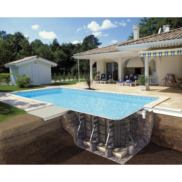 Piscine enterr e p psc rectangulaire filtration soliflow for Piscine demontable rectangulaire