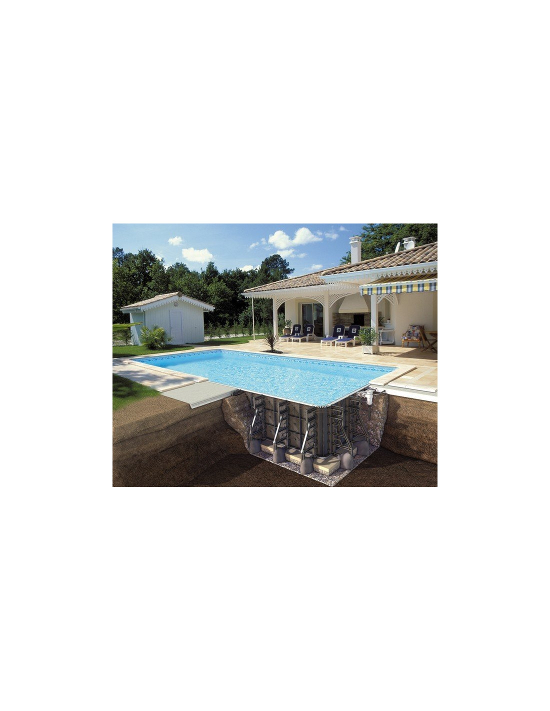 Kit piscine enterr e ppp rectangulaire 6 x 3 x 1 25 m for Piscine enterree en kit