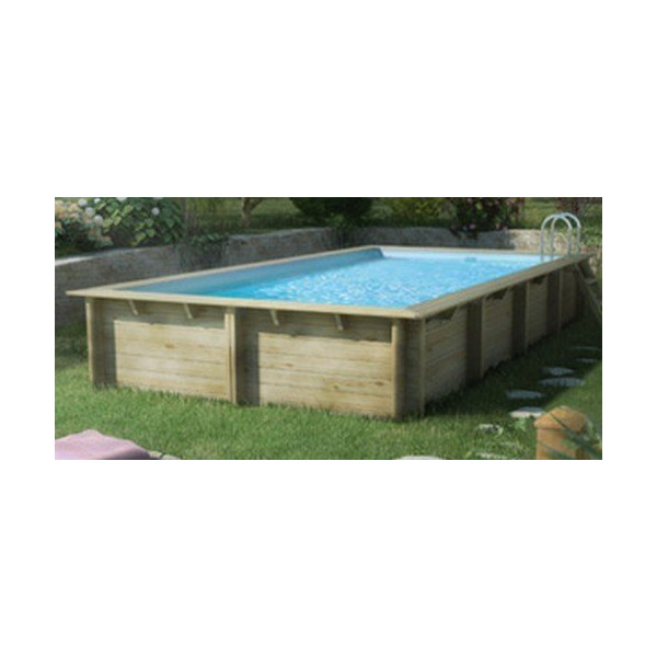 Piscine rectangulaire w va en bois x x m for Piscine cerland