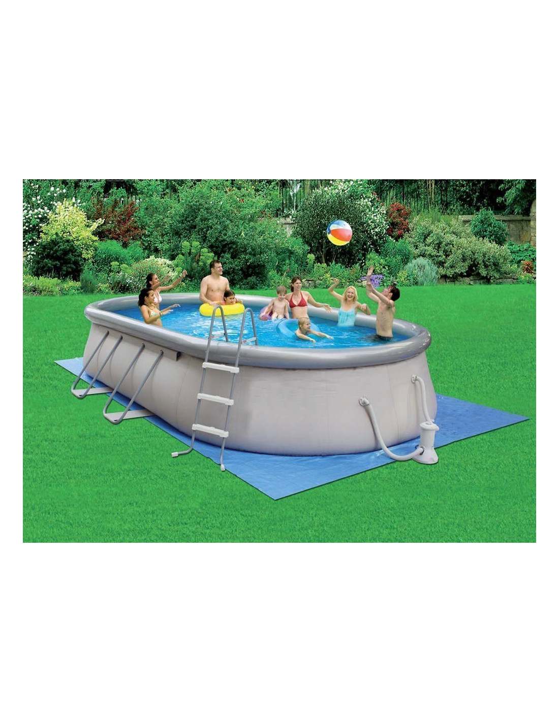 Piscine autoportante ovale 6 10 x 3 66 x 1 22m garden leisure for Piscine auto portante
