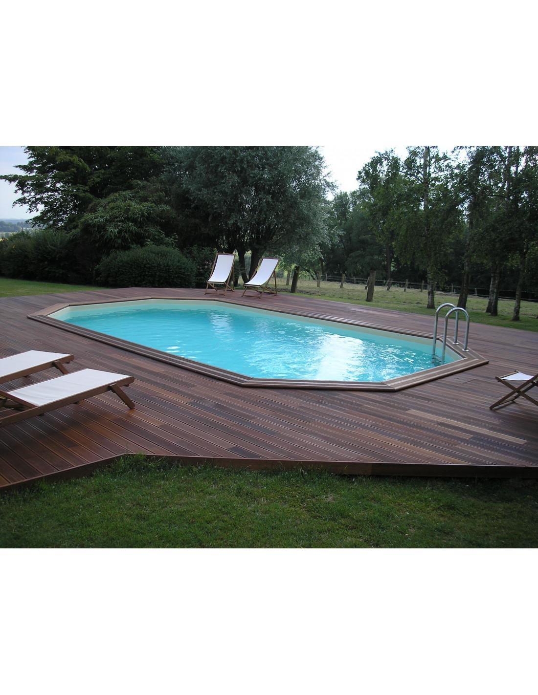 Piscine hors sol bois oc a 610 x 400 x 130 cm ubbink for Liner piscine octogonale