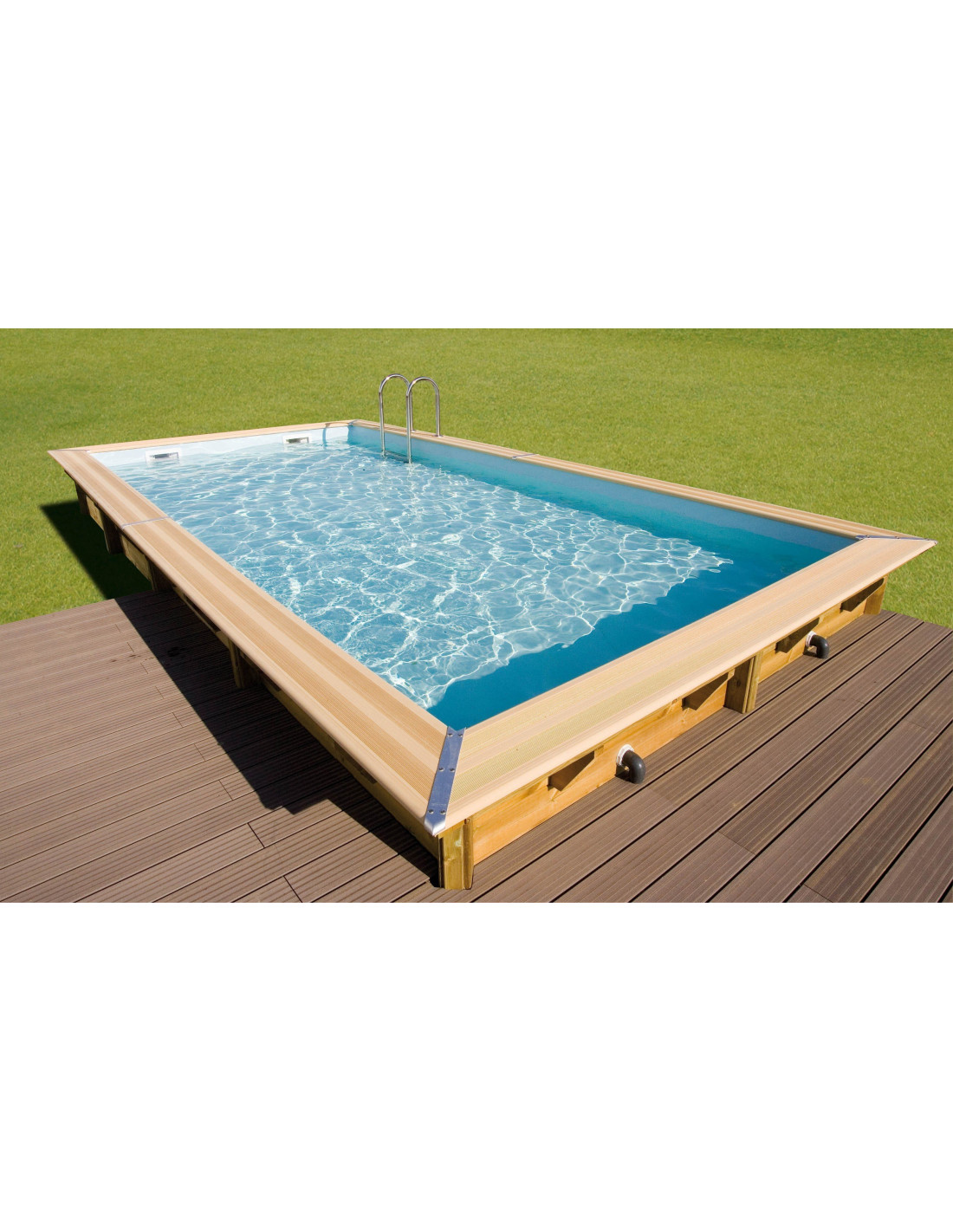 Piscine hors sol bois lin a 650 x 350 x 140 cm liner for Piscine demontable rectangulaire