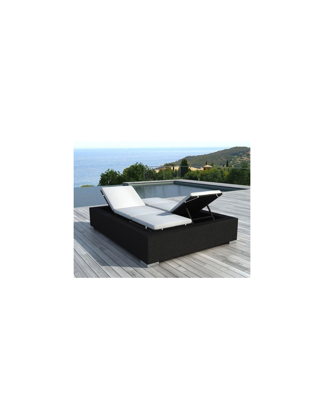 Bain de soleil double pas cher en r sine tress e 2 places for Chaise longue design exterieur
