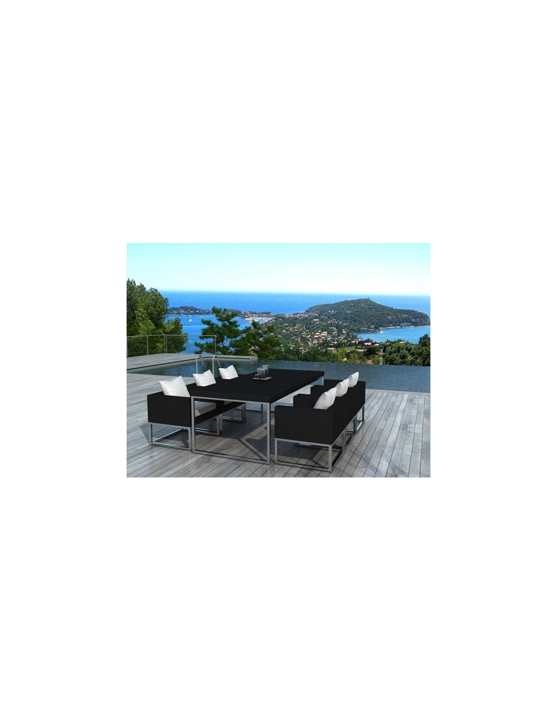 Ensemble table et chaise de jardin 6 places mod le maldives for Ensemble de jardin en resine tressee