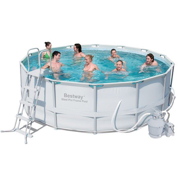 Piscine tubulaire bestway ronde couleur grise filtration for Piscine ronde tubulaire