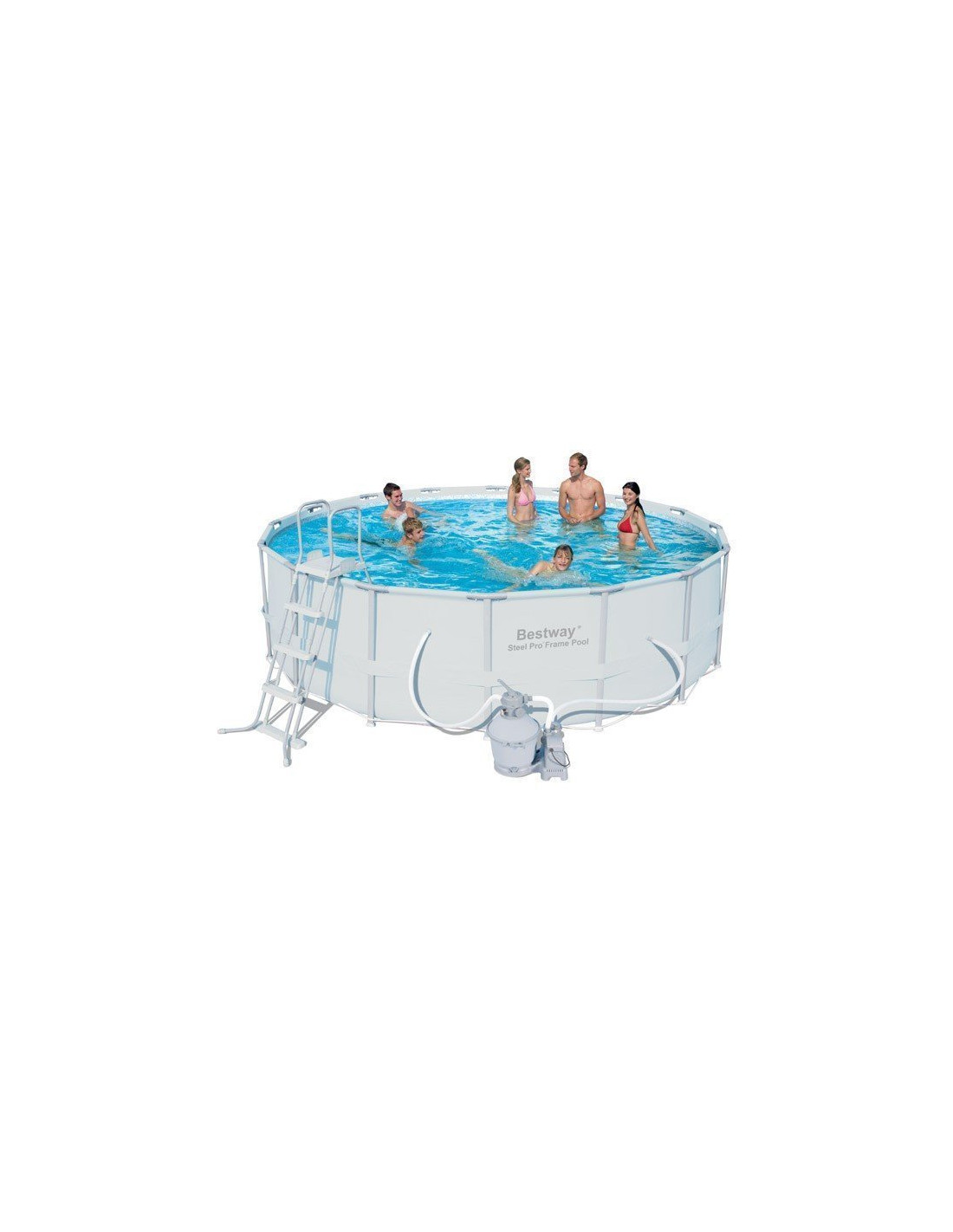 Piscine tubulaire bestway ronde couleur grise filtration for Piscine tubulaire grise