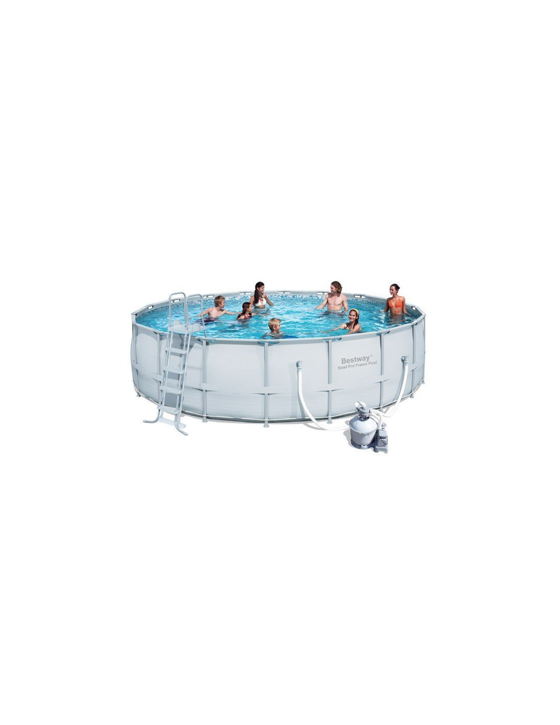Piscine tubulaire bestway ronde couleur grise filtration for Filtre sable piscine