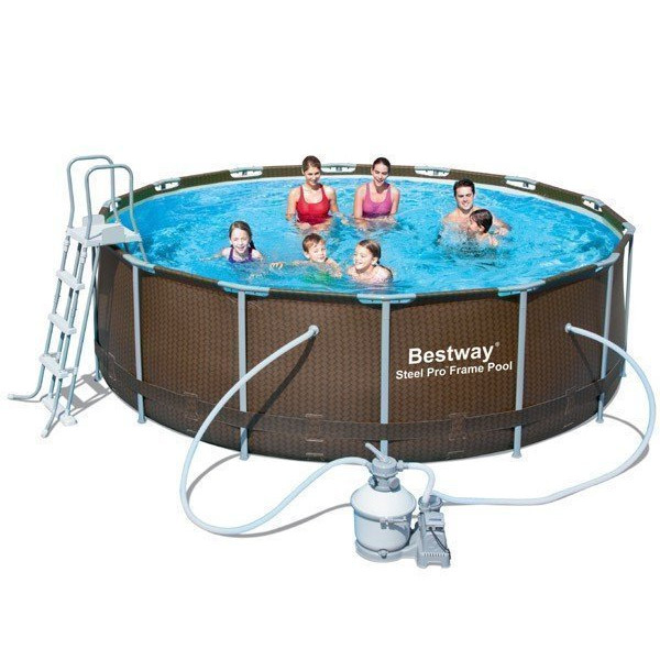 Piscine tubulaire bestway ronde imitation r sine tress for Hors sol tubulaire