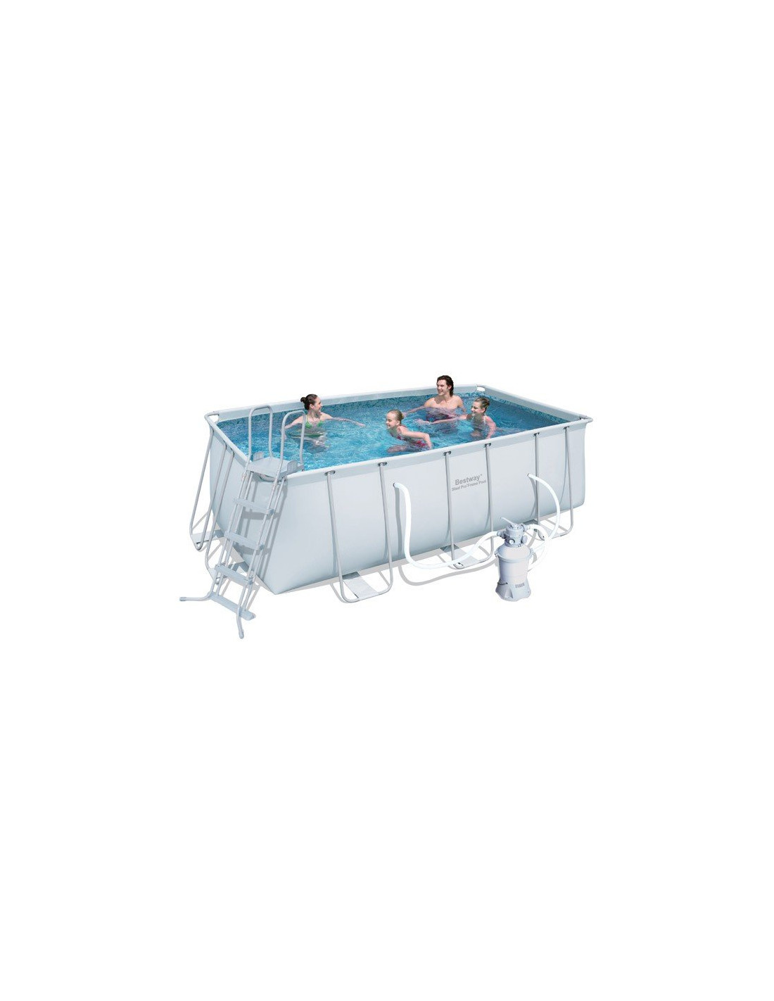 Piscine tubulaire rectangulaire bestway avec filtre sable for Filtre sable piscine
