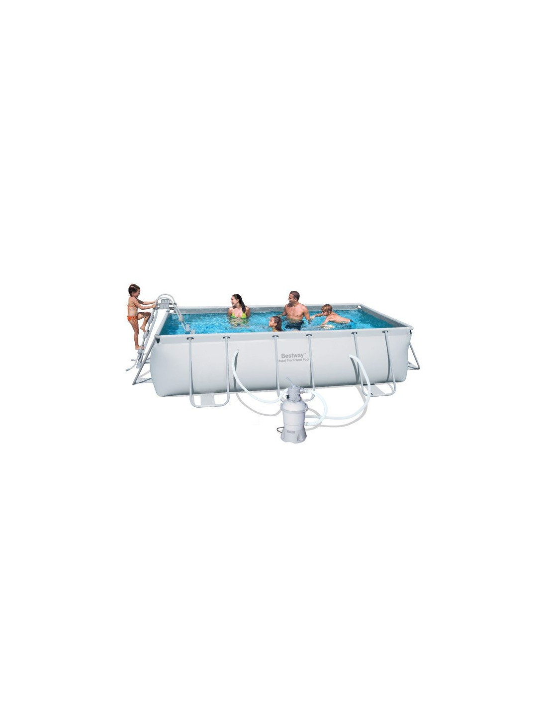 Piscine tubulaire rectangulaire bestway avec filtre sable for Pieces detachees pour piscine hors sol
