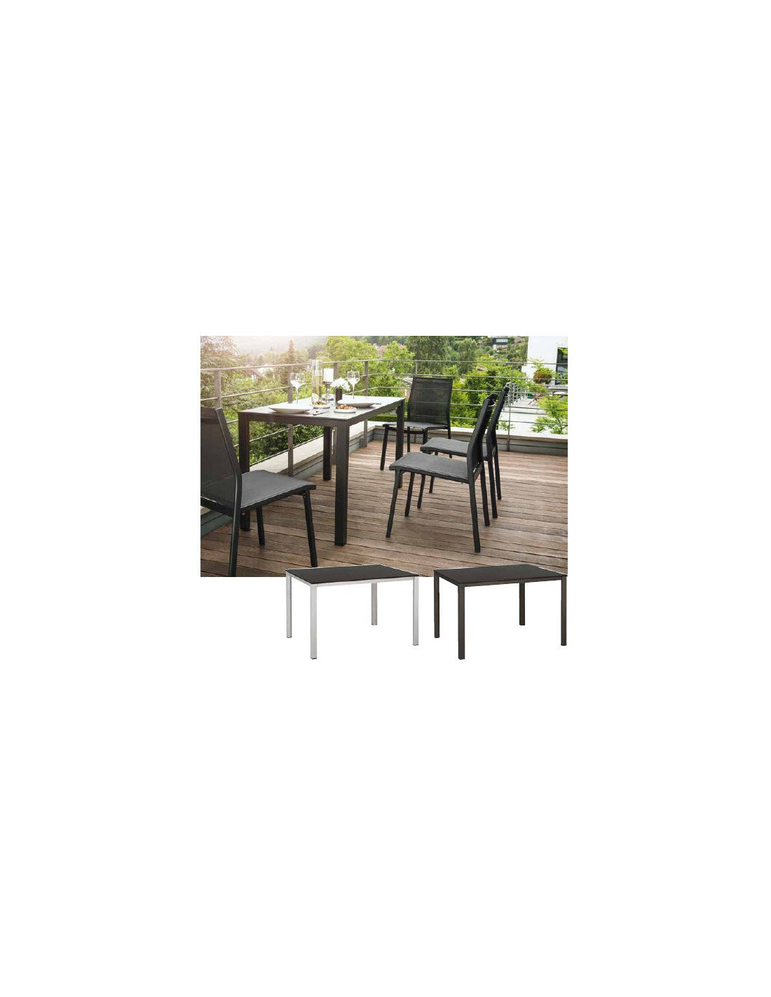 table de jardin en r sine et aluminium mod le balcon kettler. Black Bedroom Furniture Sets. Home Design Ideas