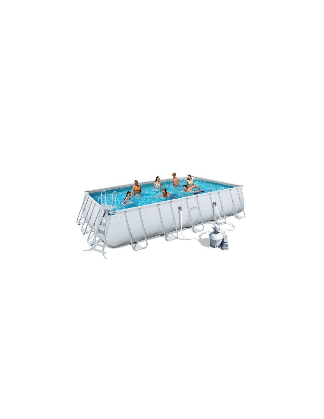 Piscine rectangulaire tubulaire bestway avec filtre sable for Pompe pour piscine bestway