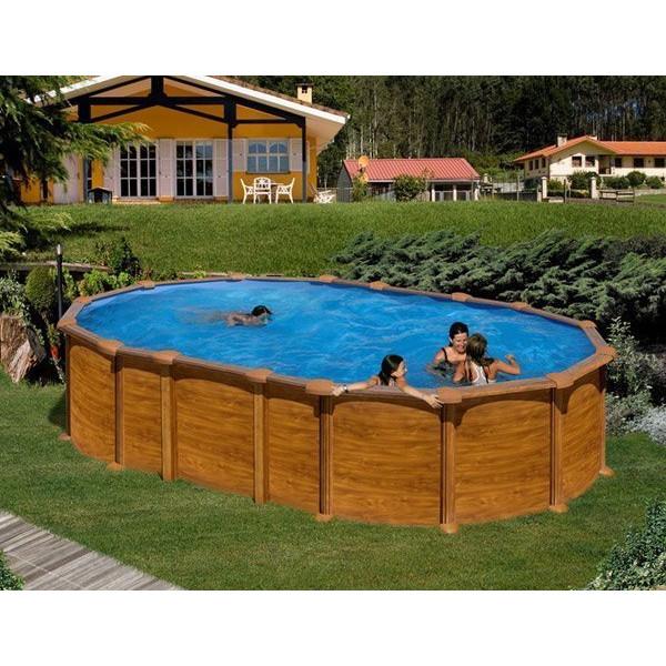 piscine acier imitation bois ovale mod le amazonia