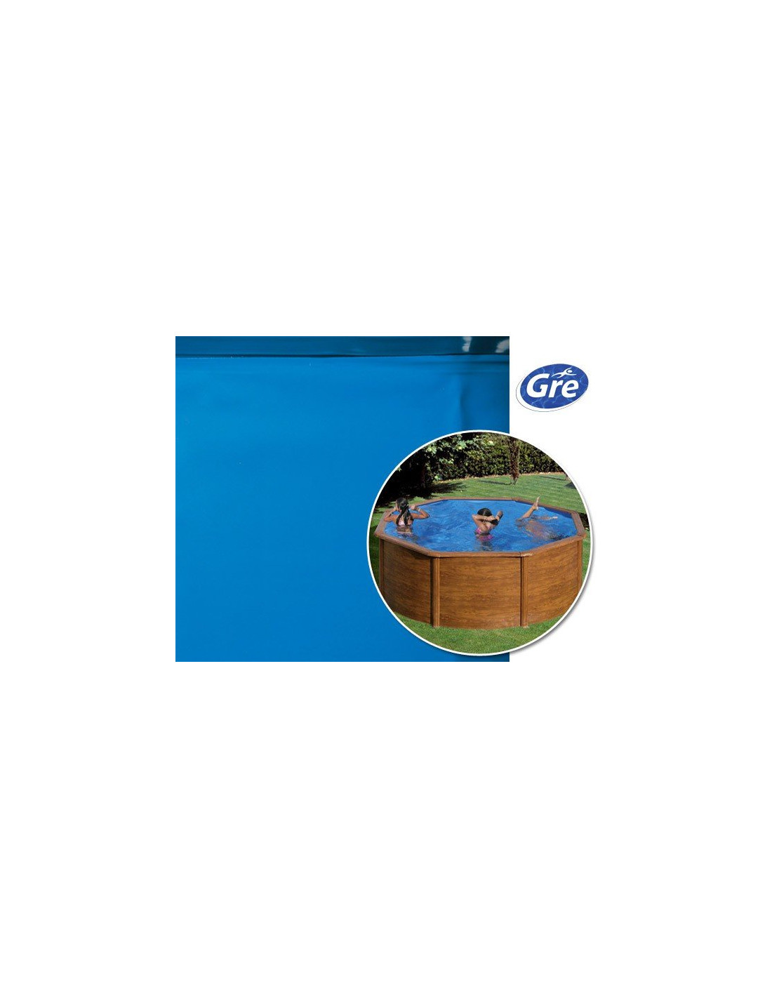 Liner piscine hors sol ronde gre pool coloris bleu for Reparation liner piscine hors sol