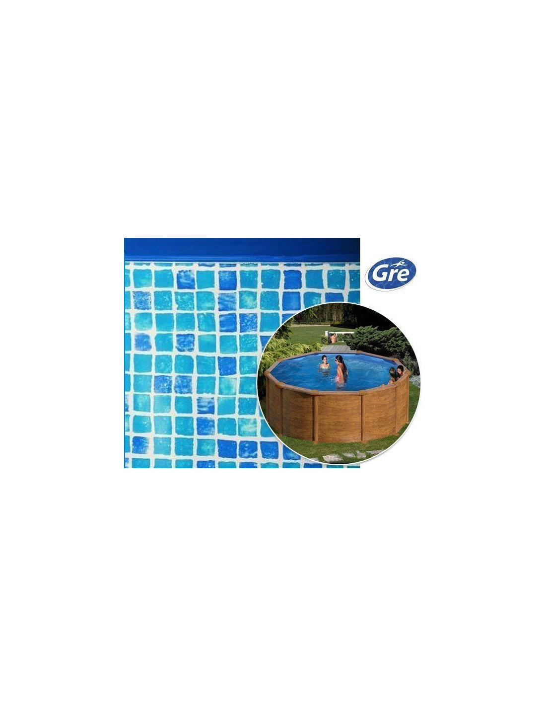 Liner piscine hors sol ronde gre pool coloris mosa que for Liner piscine ronde