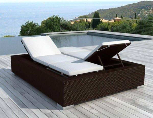 Bain de soleil double pas cher en r sine tress e 2 places delorm - Bain de soleil piscine ...
